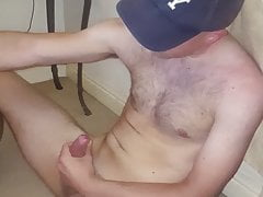 Hot NY boy cums over himself