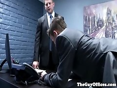 Office boss spanks twink intern