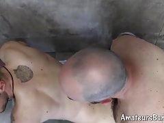 Bearded amateur bangs twink after receiving fellatio