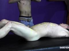 Skinny sub cannot escape BDSM bondage and wax torment