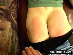 skater hunk getting his bare ass slapped hard  segment