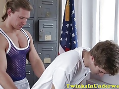 Young massaged twink jerksoff creamy load