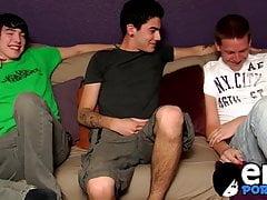 Skinny emo twinks enjoy a steamy cock sucking threesome