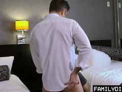 FamilyDick - Horny Stepdad Secretly Fucks His Boys Tight Asshole In A Hotel Room