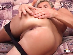 Blonde twink gets cum on belly after passionate masturbation