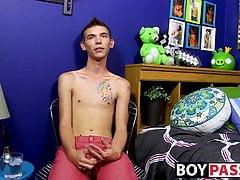Skinny gay Bentley Ryan interviewed and jerking off to cum