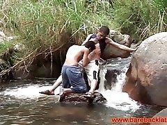Latino twink barebacking outdoors