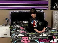 Lusty little emo twink grabs his big erect dick and wanks