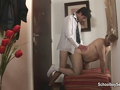 Picking up hot student to eat his cum
