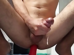 Solo anal dildo and cum