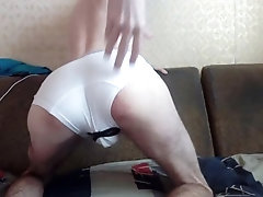 Young russian guy masturbates with a vibrator in the ass