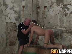 BDSM twink Jakwy Combe ass drilled with dildo by naughty gay