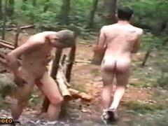 Friends in nudism camping