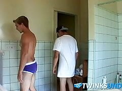Twinks have fun in a changing room while being in underwear