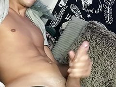 Twink 18 yo with huge cock jerking