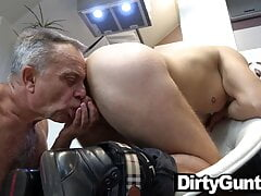 80yo citizen plays with a masked twink