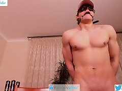 Twink boy with big uncut dick gets locked up in hand cuffs and mouth gag and runs away!