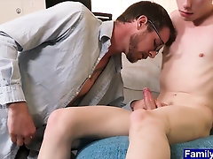 Young stepson Billy Saint gets his cock sucked by old stepdaddy