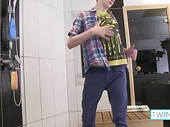 Sweet Blonde Twink Liam Masturbates And Cums In The Shower!