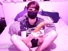 Femboy twink with a big uncut dick plays with his new Unicorn dildo from Sinnovator