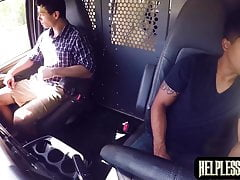 Stranded guy got a ride and hardcore anal drilling in a van