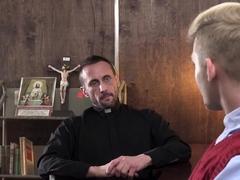 Old priest sticks a crystal rod inside twinks asshole