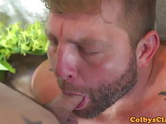 Sensual inked twink assfucked by muscle bear