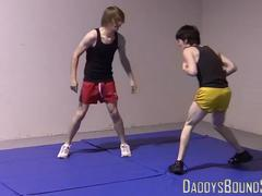 Petite gays spar together hardcore and slowly strip naked