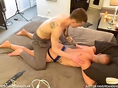 Muscle Daddy Couple & Tied Up Muscle Twink Tickle BDSM Bondage Edging Dominant Submissive Role Play