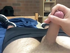 Horny 18 year old wanks off in his room