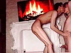 Very hot sex near the fireplace, doggy style, cum shot