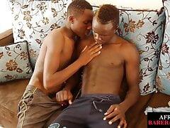 Skinny African barebacked before giving handjob for cumshot
