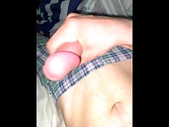 Bi college student jerks off with his boxers on