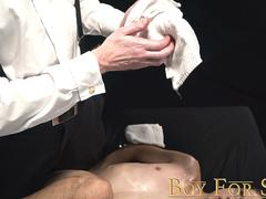 BoyForSale Son jerked off and fucked with dildo by masked daddy