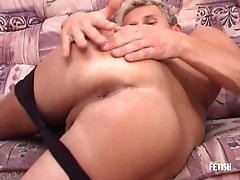 Blonde twink gets cum on belly after passionate masturbation