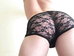 sexy ass in lace underwear.
