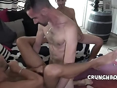 KEVIN ASS fucked bareback in double penetration for CRUNCHBOY by 2 straights boys curious from borde