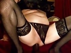 sissy using his gaping ass with huge dildos