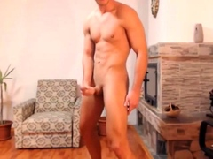 Handsome fitted dude wanking big cock