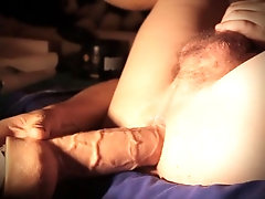 Hard fuck with cum and playing with 8 inch cum dildo