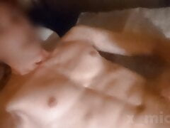 Hot 18-year-old Polish twink with huge dick cums on his abs