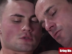 Hunky daddy massages and strokes big ass twinks cock