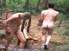 Friends in nudism camping